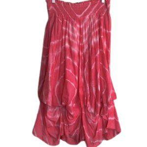 KAKTUS Tye Dye pink&white midi length skirt SIZE M